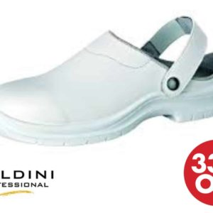 Soldini Safety Clog in White – Italian Synthetic Leather Safety Shoes