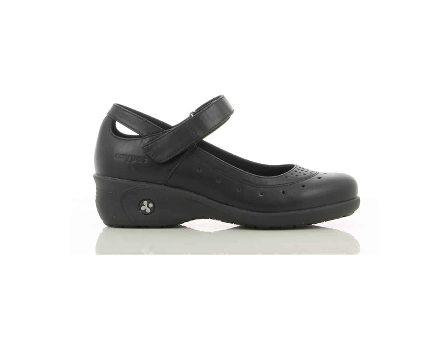 Oxypas 'Olive', Slip-on, Anti-slip, Anti-static, Mary-Jane Style Nursing Shoe in Black