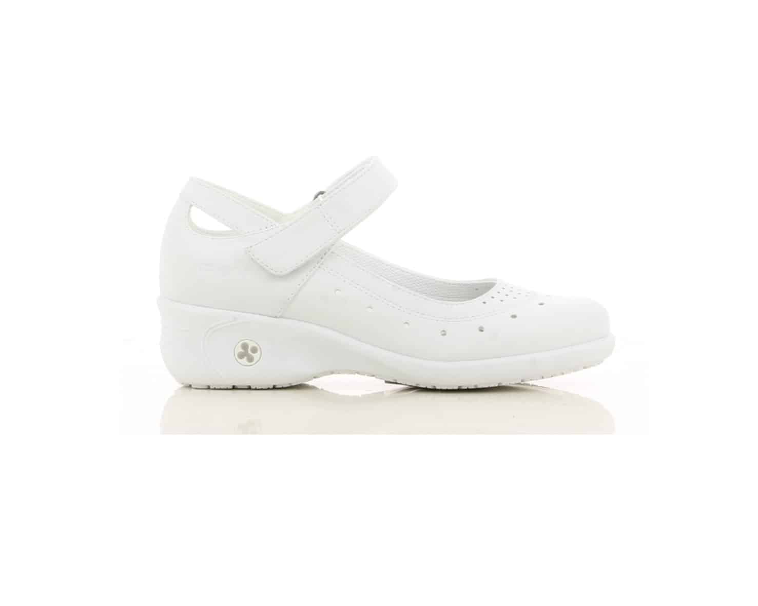 Oxypas 'Olive', Slip-on, Anti-slip, Anti-static, Mary-Jane Style Nursing Shoe in White