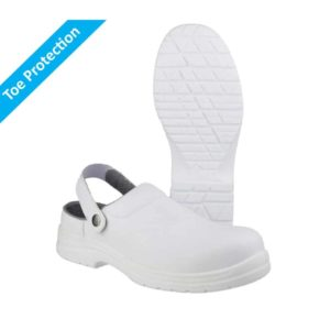 FS512 SB2 E A SRC Washable, White Metal Free Slip On Safety Clogs with Composite Toe Protection