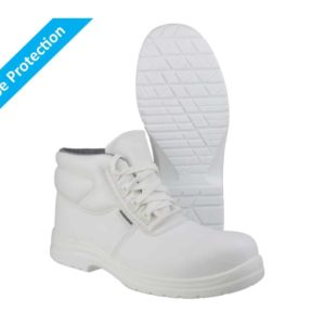 FS513 S2 SRC Washable, White Lace-up Metal Free Safety Boots with Toe Protection