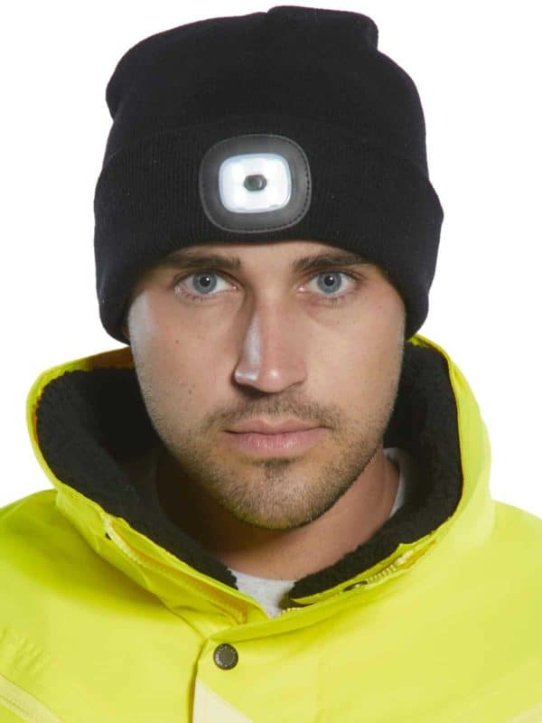 LED Headlight Beanie Hat - USB Rechargeable