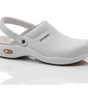 Oxypas Ultralight Heidi White Leather Nursing Clog with Anti-slip and Anti-static