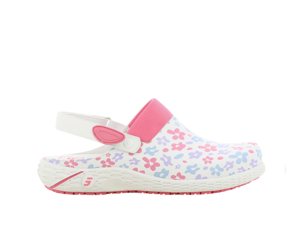 Dany Clogs for Nurses in white with fuchsia floral