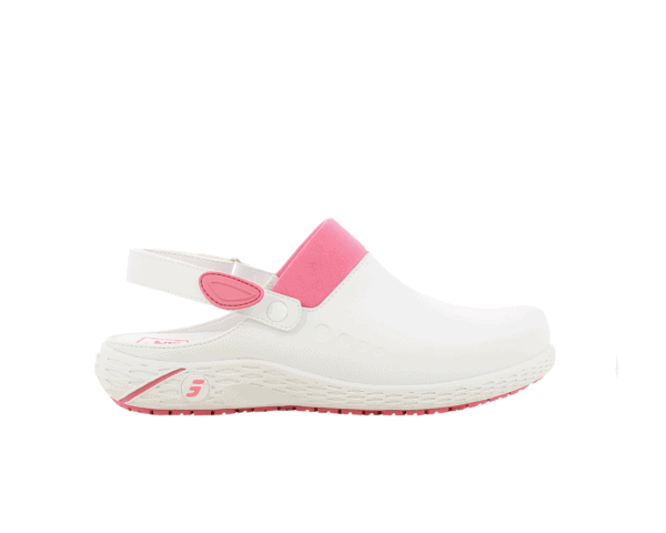Dany Clogs for Nurses in white with fuchsia