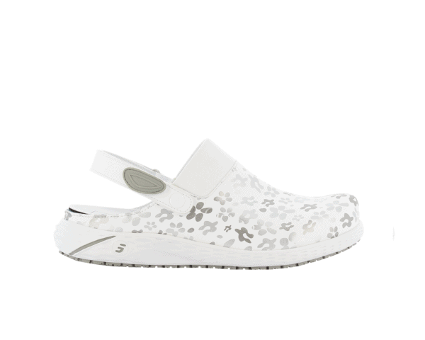 Dany Clogs for Nurses in white with grey floral
